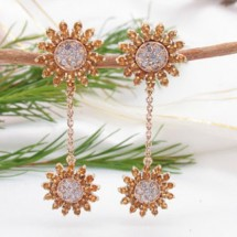 Loading image - Star Dangle Diamond and Citrine Earrings Set in 9 K Yellow Gold