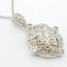 Loading image - Sterling Silver Jewelry Filigree Diamond Pendant