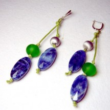 Loading image - Designer Fused Glass Earrings, by JanArt Israel, Hand crafted