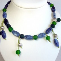 Loading image - Designer Necklace,Fused Art Glass by JanArt, Made in Israel