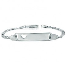 Loading image - 6 Inch Sterling Silver Baby Child Heart Figaro ID Name Bracelet