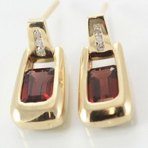 Solid 9ct Gold Garnet and Diamond Earrings