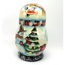 Loading image - Snowman Nesting Doll with Christmas Tree Ornaments
