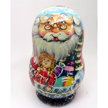 Loading image - Santa Nesting Doll with Christmas Tree Ornaments