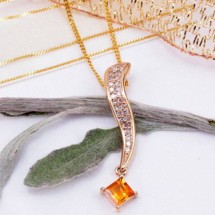 Loading image - Genuine Diamond 05.Ct & Solid Citrine Pendant  9 Ct Gold