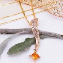 Loading image - Genuine Diamond 05.Ct & Solid Citrine Pendant  9 Ct Gold