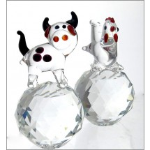 Crystal Farm Animal Figurines Cow and Chicken