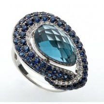 Loading image - 18ct White Gold Cocktail Ring, Blue Topaz Sapphire and Diamonds