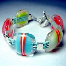 Loading image - Vibrant Glass Lampwork Bracelet with Sterling Silver