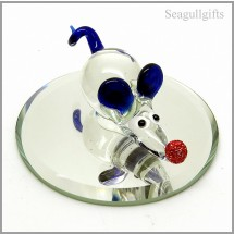Loading image - Art Glass Mini Mouse Figurine on Mirror Base