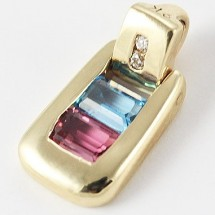 Loading image - 9ct Yellow Gold Topaz and Tourmaline Pendant