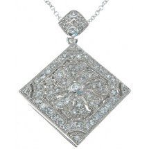 Loading image - Antique Inspired Diamond CZ Locket in 925 Sterling Silver