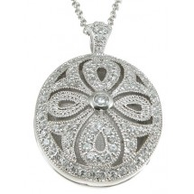 Antique Style CZ Locket in 925 Sterling Silver