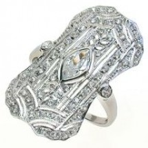 Sterling Silver Ring, Fancy Filigree Look with Cubic Zirconia