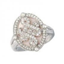 Loading image - Sterling Silver Pink Mother of Pearl Cz Dress Ring