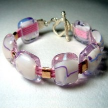Loading image - Handcrafted Soft Pink Glass Bracelet with Sterling Silver