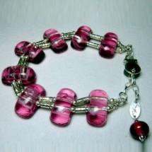 Loading image - Designer Bracelet, Fused Art Glass and  Sterling Silver by Janart Israel