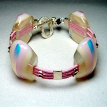 Designer Pink Glass Bracelet by Jan Art  Israel