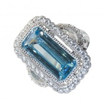 Sterling Silver Ring, Antique Styled, Simulated Blue and White Diamonds