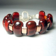 Deep Red Designer Bracelet, Fused Glass Jewelry