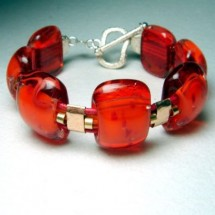 Handcrafted Deep Red Orange Fused Glass Bracelet