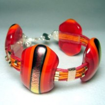 Striking Red and Gold Fused Glass Bracelet