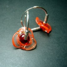 Loading image - Red Orange Floral Art Glass Hoop Earrings