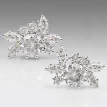 Loading image - Moissanite Diamond 18ct Earrings White Gold, Stud Earrings
