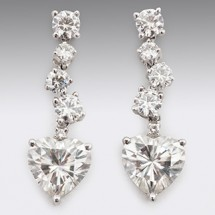 Loading image - Heart Drop Moissanite Diamond Earrings 18ct White Gold