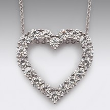 Loading image - 18ct White Gold Moissanite Heart Shaped Diamond Pendant