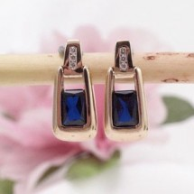 Loading image - 9ct Gold Sapphire and Diamond Drop Earrings