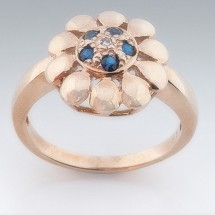 Loading image - 9ct Gold  Sapphire and Diamond Floral Ring