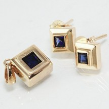 Loading image - Sapphire Pendant and Earring Set 9ct Solid Gold