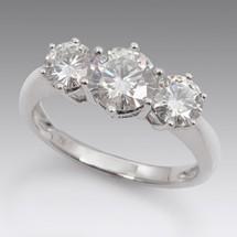 Loading image - Diamond Moissanite 3 Stone Dress Ring 18ct White Gold