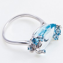 18ct Gold Diamond and Blue Topaz Cocktail Ring