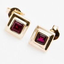 Solid 9k Gold Ruby Stud Earrings