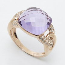 18ct Gold Cocktail Ring with Diamonds and Amethyst