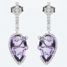 Loading image - 18k White Gold Diamond and Amethyst  Earrings