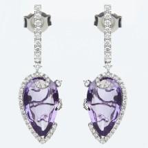 Loading image - 18k White Gold Diamond and Amethyst  Earrings