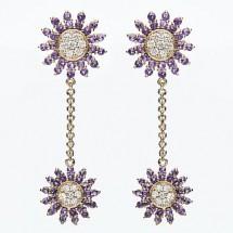 Loading image - Star Dangle Diamond and Amethyst Earrings Set in 9K Gold