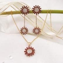 Loading image -  Diamond,Garnet Earring and Pendant Set, Star shaped.