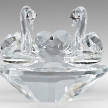Crystal Ornaments, Pair of Swans with Heart
