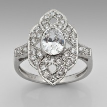 Loading image - Sterling Silver Jewelry, Antique Inspired Cubic Zirconia Ring