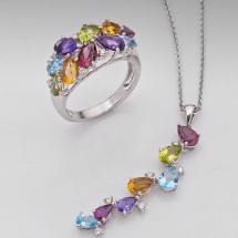 18 ct Ring Pendant set. Genuine Diamonds,Garnet,Topaz, Amethyst  18ct  white Gold
