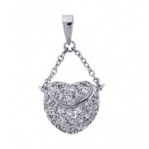 Sterling Silver Necklace, Cz Bag Pendant