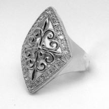 Loading image - Sterling Silver Jewellery, Celtic Design Cubic Zirconia Ring