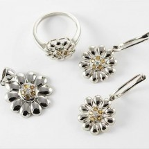 Loading image - 9ct White Gold Citrine and Diamond Floral Ring Pendant Earring Set