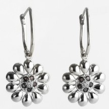 Loading image - 9k White Gold Sapphire and Diamond Flower Shaped Leverback Earrings