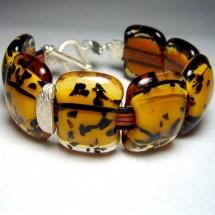 Leopard Style Fused Glass Designer Bracelet