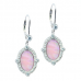Sterling Silver Earrings Pink Mother of Pearl with Cubic Zirconia